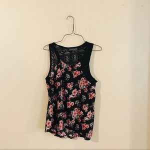 Black Floral Knit Top with Crochet Accents